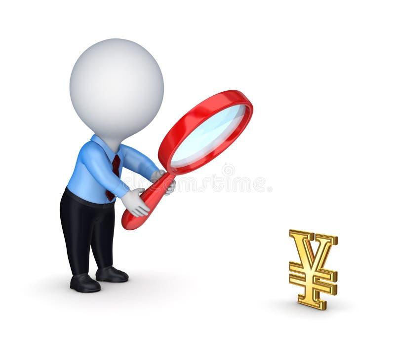 pessoa 3d pequena com símbolo vermelho da lupa e do dólar. ilustração stock