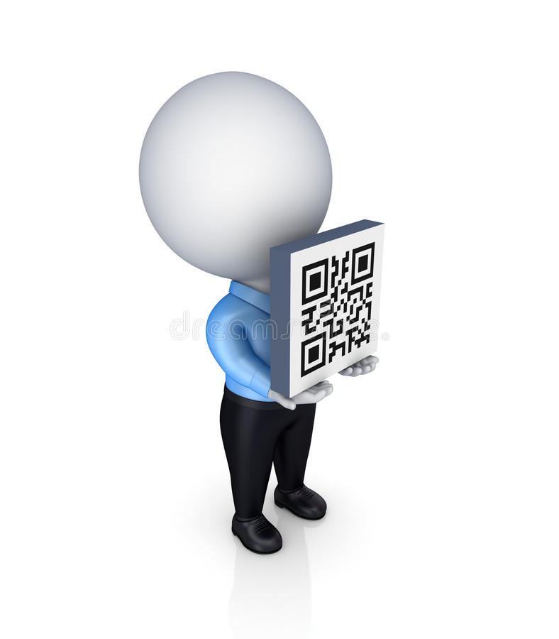 pessoa 3d pequena com um código de QR no mãos. ilustração royalty free
