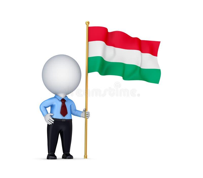 pessoa 3d pequena com uma bandeira húngara em uma mão. ilustração do vetor