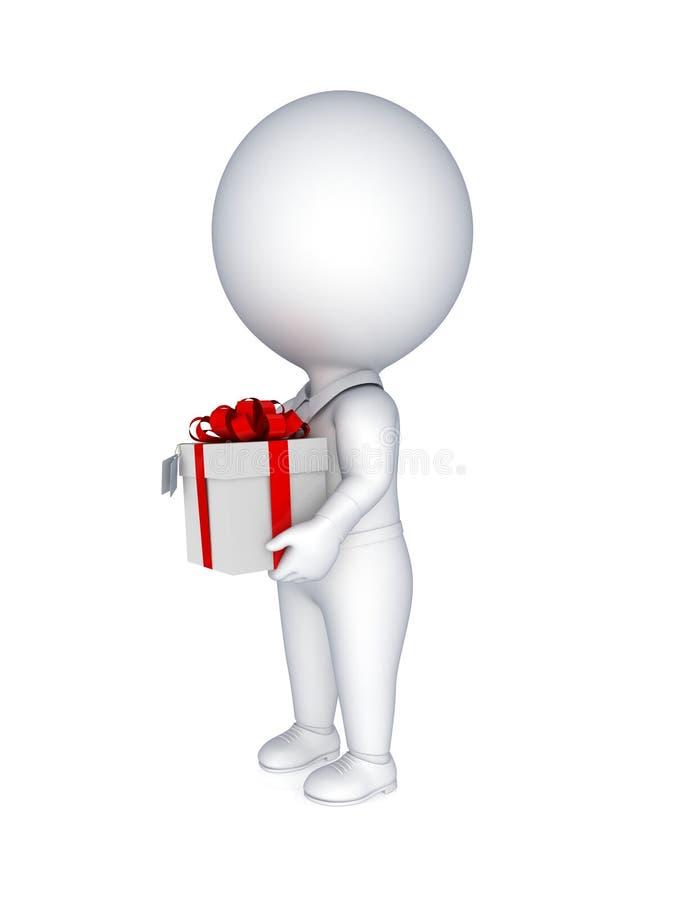 pessoa 3d pequena com uma caixa de presente no mãos. ilustração royalty free