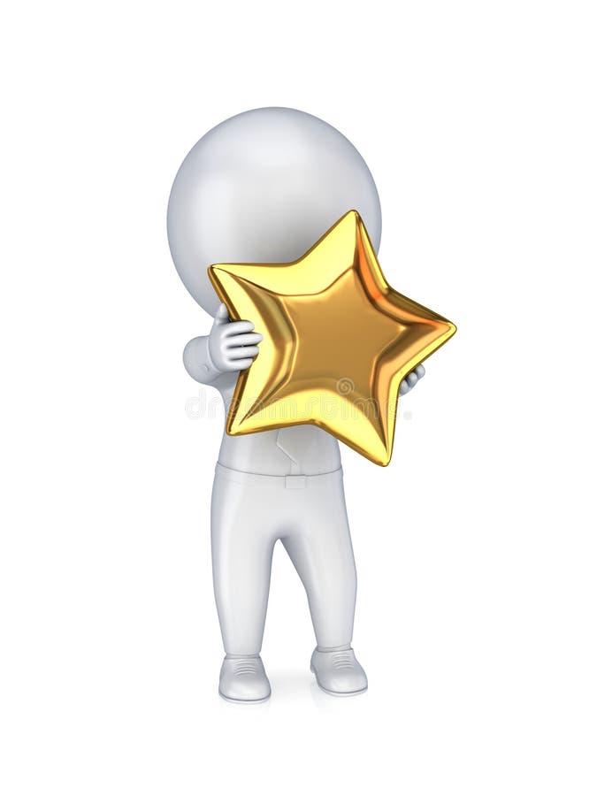 pessoa 3d pequena com uma estrela dourada no mãos. ilustração do vetor