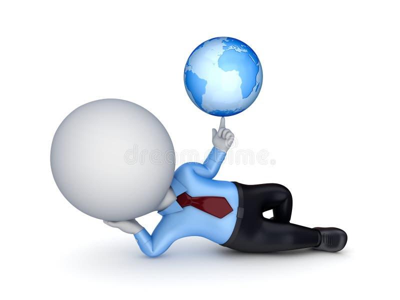 pessoa 3d pequena e globo. ilustração stock