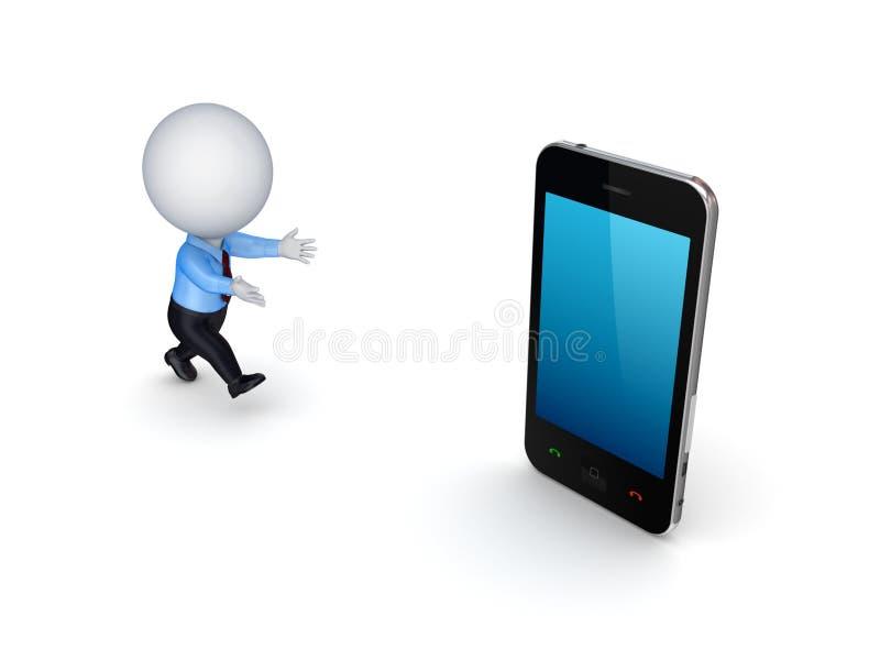 pessoa 3d pequena e telefone móvel moderno. ilustração stock