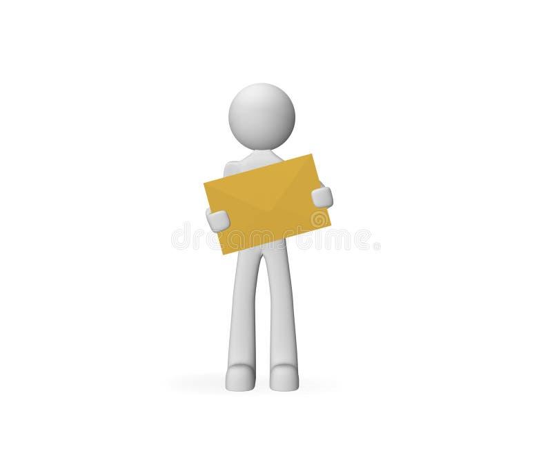 pessoa 3d que carreg o correio ilustração stock