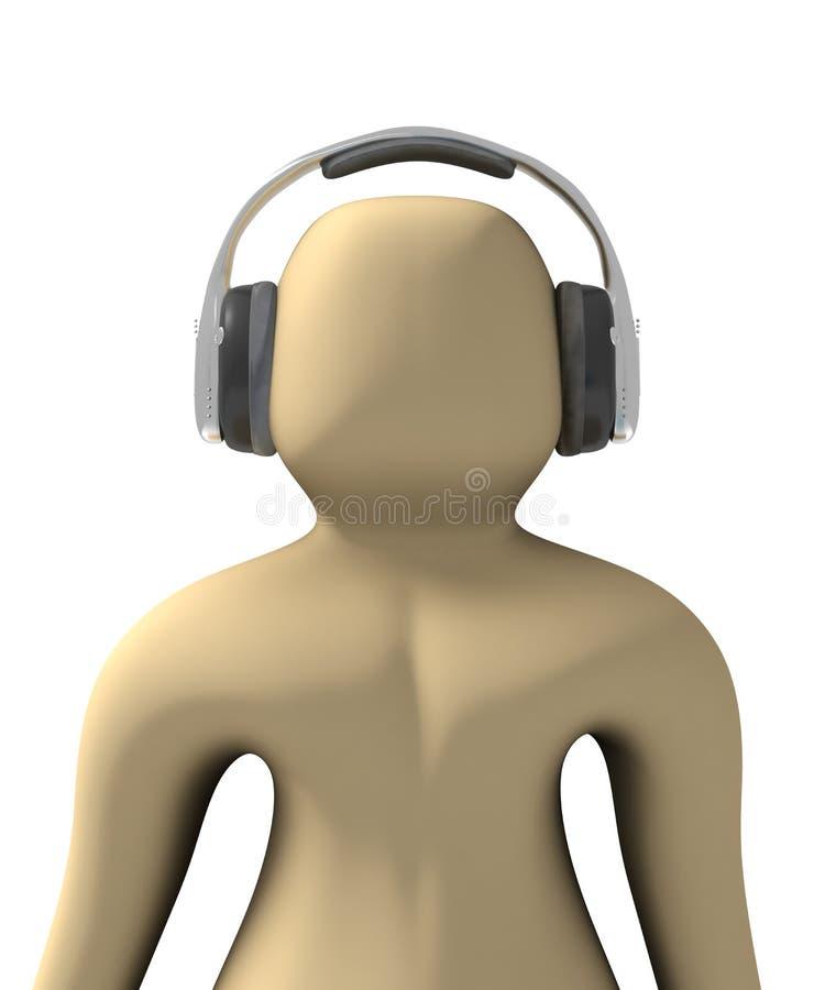 Download Pessoa 3d Que Escuta A Música Ilustração Stock - Ilustração de caráteres, fundo: 10060571