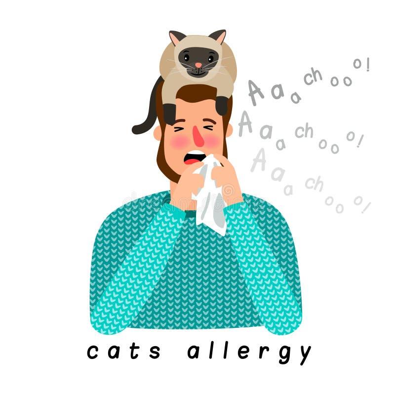 Pessoa alérgica com o gato na cabeça ilustração do vetor