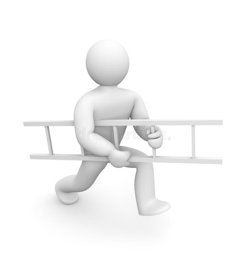 A pessoa carreg a escada ilustração do vetor