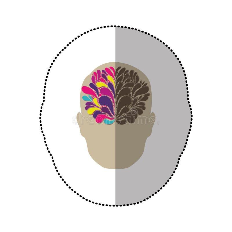 pessoa com ícone da ideia do cérebro ilustração royalty free