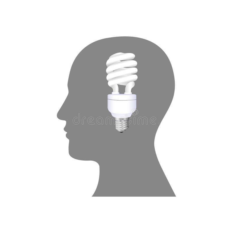 pessoa com ícone do bulbo das economias do cérebro ilustração stock