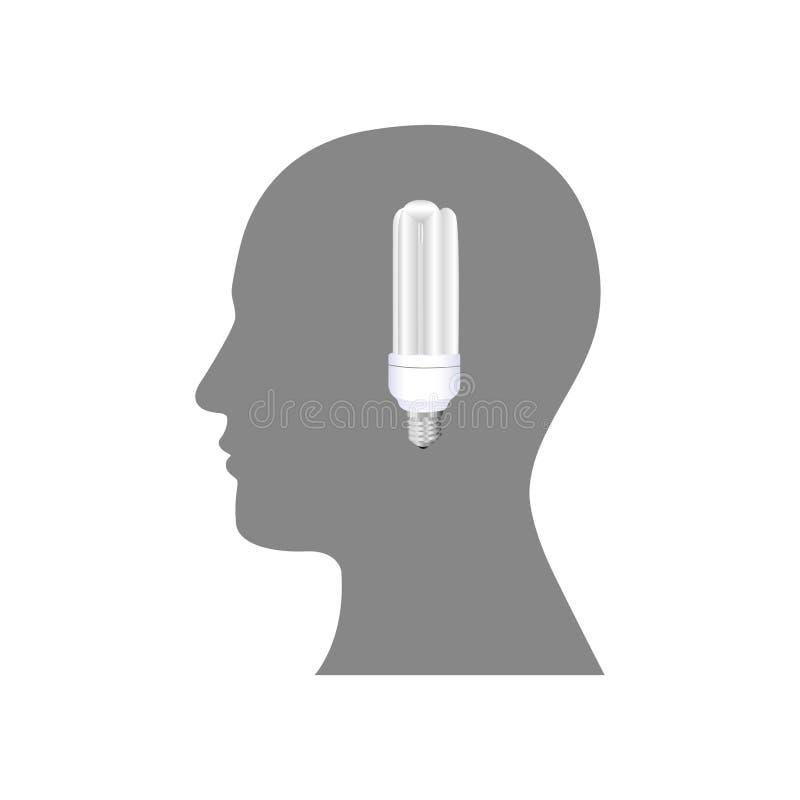 pessoa com ícone do bulbo das economias do cérebro ilustração royalty free