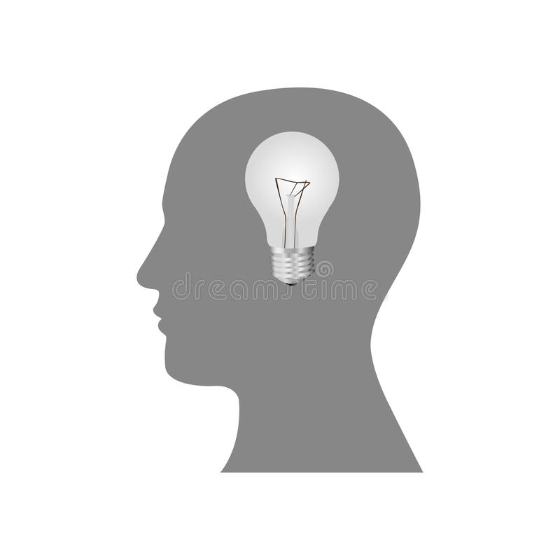 pessoa com ícone do bulbo do cérebro ilustração do vetor