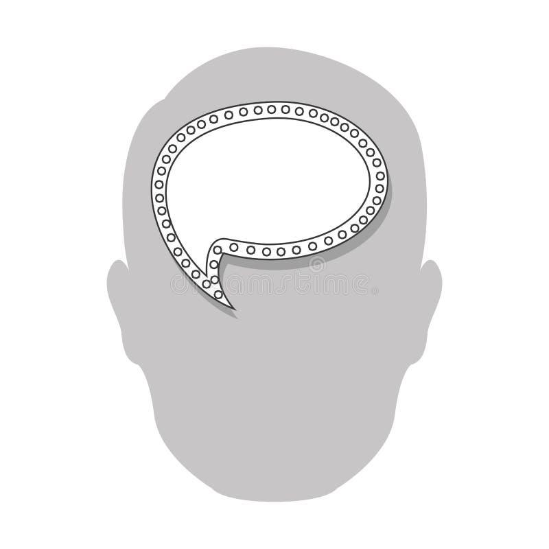 pessoa com ícone do cérebro da bolha ilustração do vetor
