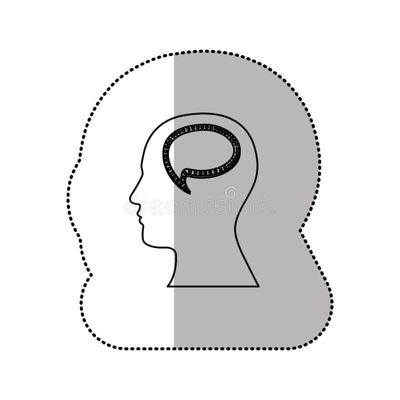 pessoa com ícone do cérebro da bolha ilustração royalty free
