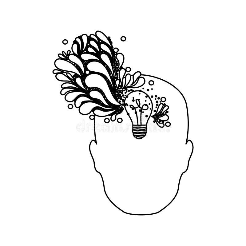 pessoa com ícone do cérebro do bulbo ilustração royalty free