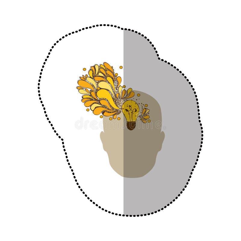 pessoa com ícone do cérebro do bulbo ilustração stock