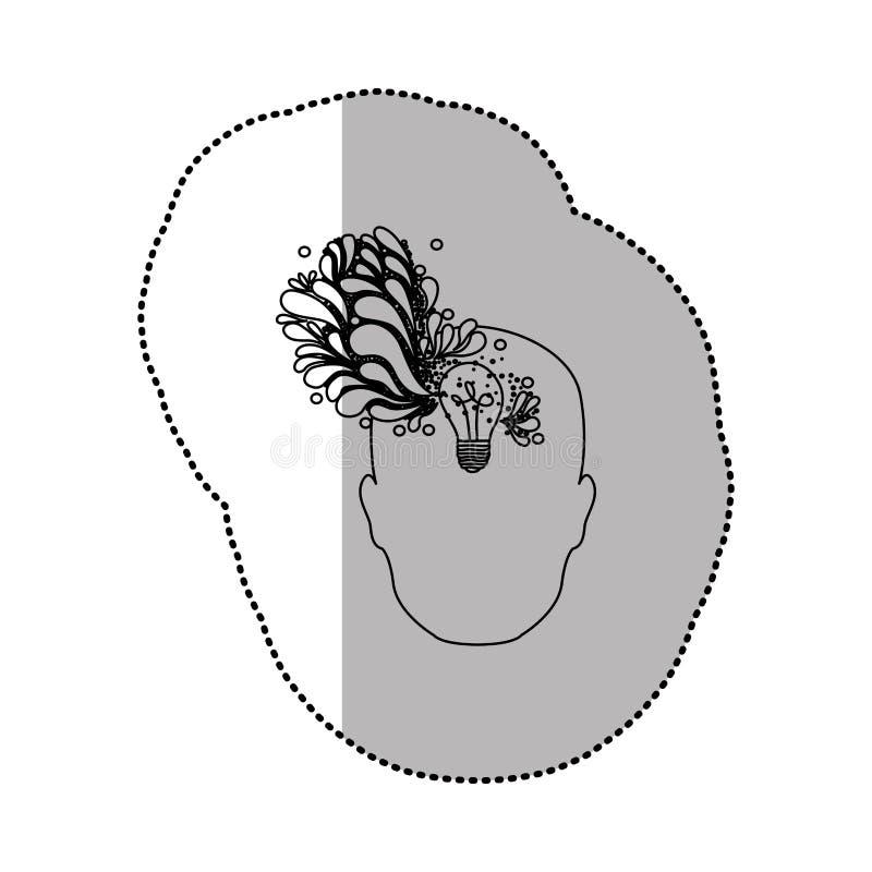 pessoa com ícone do cérebro do bulbo ilustração do vetor
