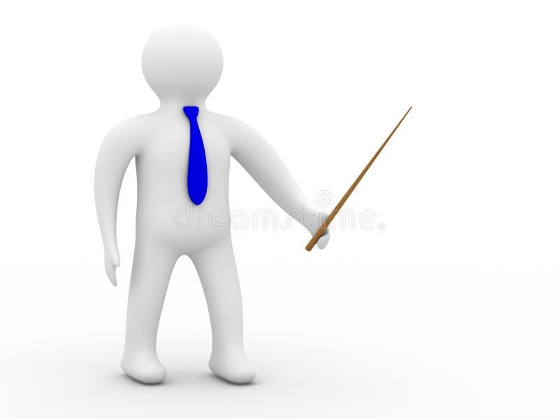Download Pessoa Com O Ponteiro No Fundo Branco Ilustração Stock - Ilustração de lição, macho: 10053419