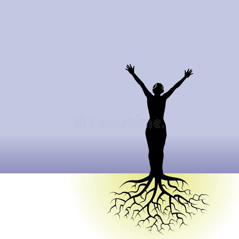Pessoa com raizes da árvore ilustração stock