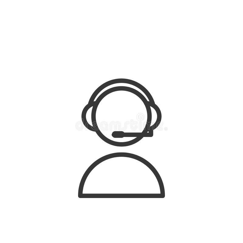 Pessoa com uma linha fina ícone dos auriculares Auxílio ou homem de apoio do centro de atendimento que falam com seus fones de ou ilustração royalty free