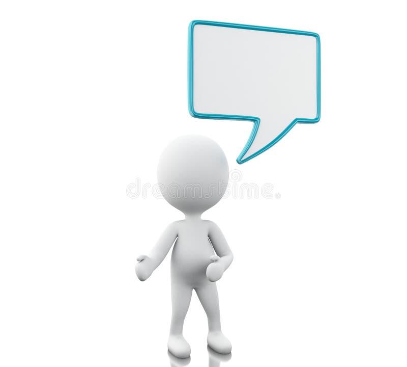 pessoa 3d branca com bolhas vazias do discurso ilustração stock