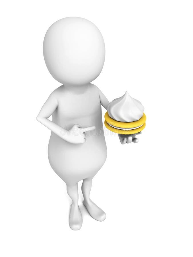 Pessoa 3d branca com o bolo em sua mão ilustração stock