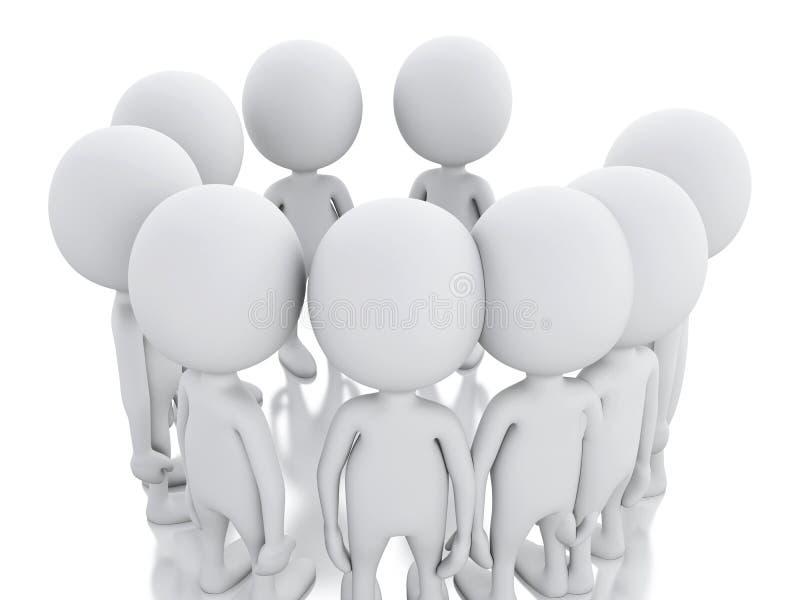 pessoa 3d branca, juntando-se a um grupo de pessoas em um círculo ilustração royalty free