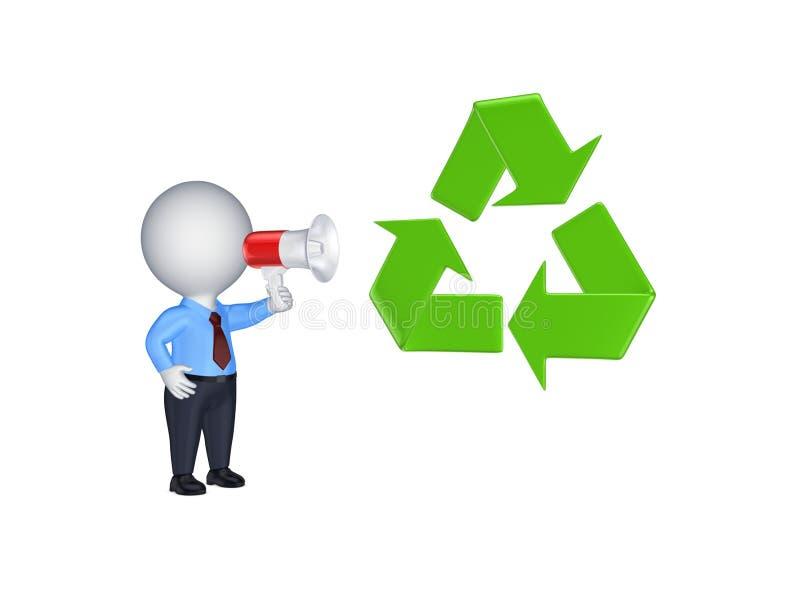 a pessoa 3d com megafone e recicl o símbolo. ilustração stock