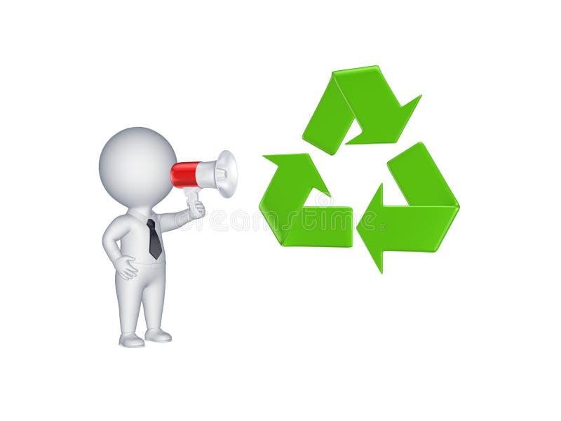 a pessoa 3d com megafone e recicla o símbolo. ilustração royalty free