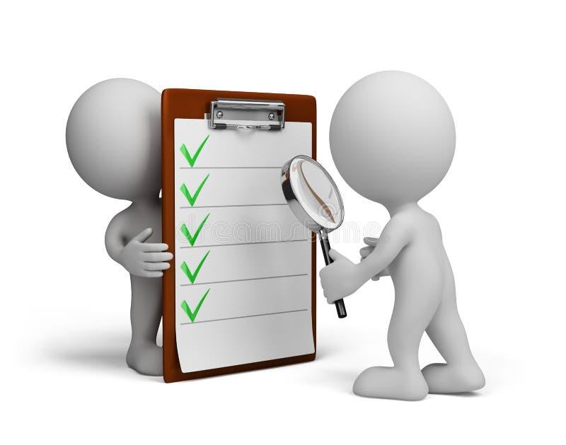 pessoa 3d e lista de verificação
