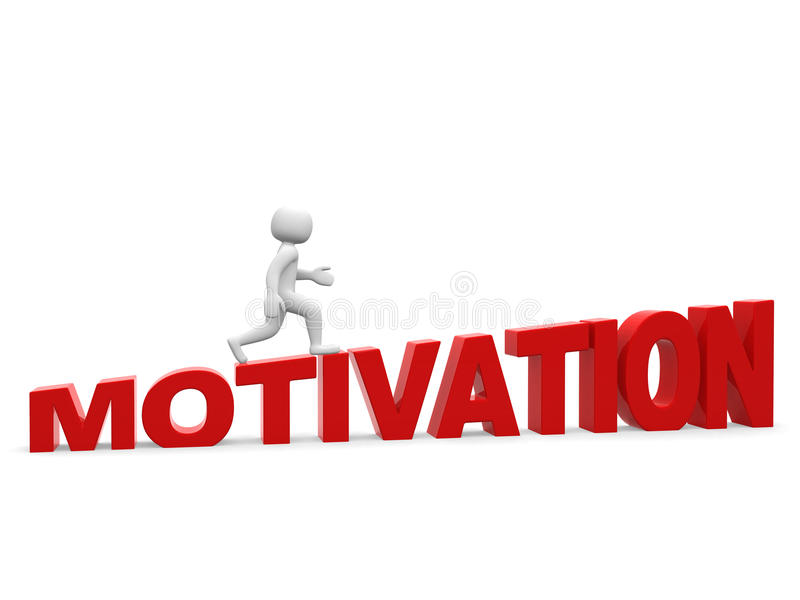 pessoa 3d - o homem, pessoa vai sobre a motivação da palavra. Homem de negócios ilustração royalty free