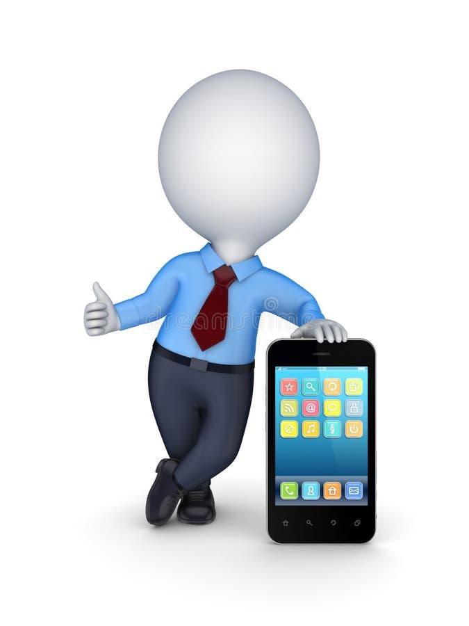 pessoa 3d pequena com telefone celular moderno. ilustração stock