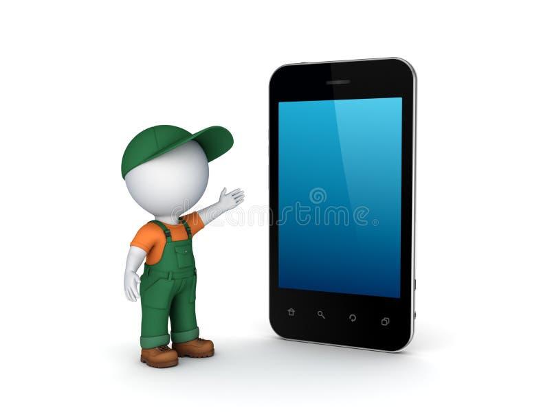 pessoa 3d pequena no workwear e no telefone celular. ilustração do vetor