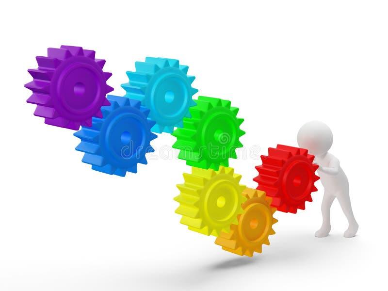 a pessoa 3d pequena rola engrenagens das cores as grandes de um arco-íris ilustração do vetor