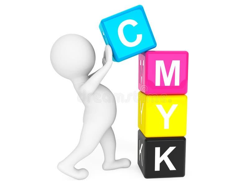 pessoa 3d que coloca cubos de CMYK ilustração stock