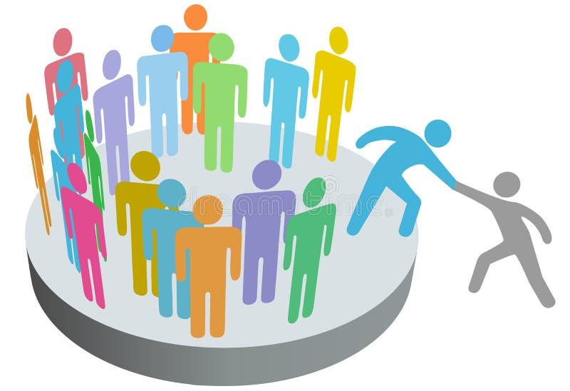 A pessoa da ajuda junta-se ao grupo dos membros dos povos ilustração do vetor