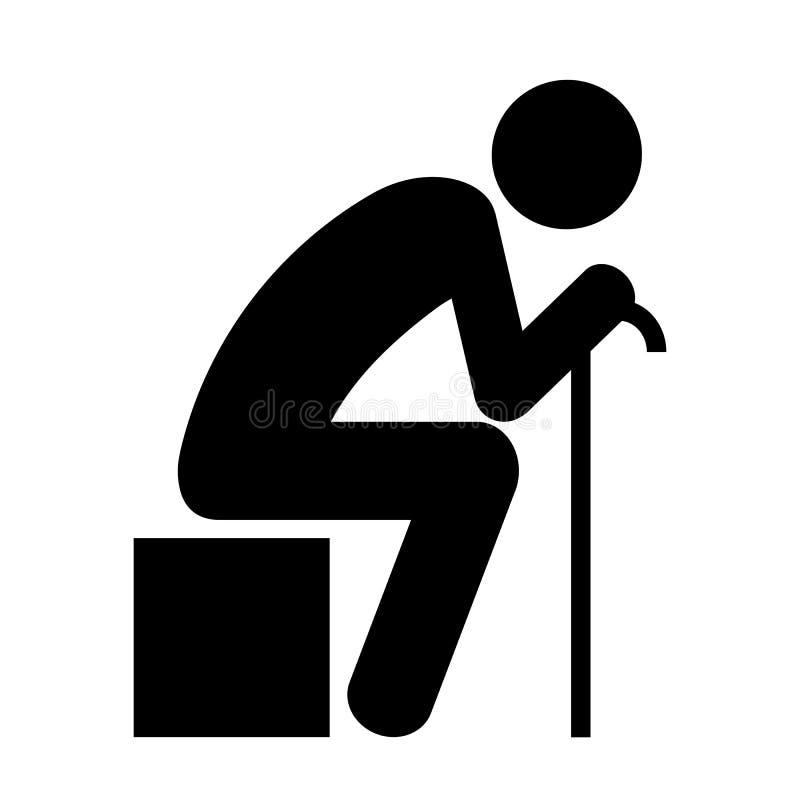 Pessoa de assento idosa ilustração royalty free