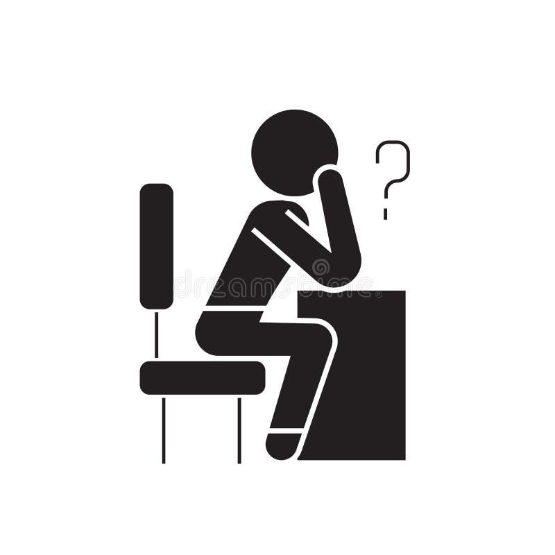 Pessoa de pensamento com ícone do conceito do vetor do preto da pergunta Pessoa de pensamento com ilustração lisa da pergunta, si ilustração stock