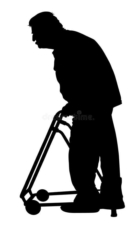 Pessoa deficiente idosa com silhueta do caminhante Ancião que anda com cuidador ilustração stock
