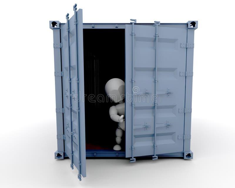 Pessoa dentro do recipiente de frete ilustração do vetor