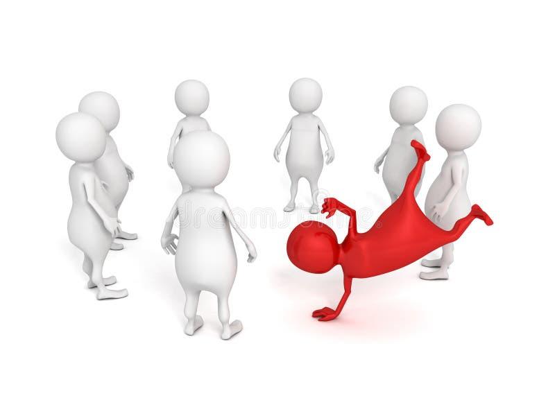 Pessoa diferente do vermelho 3d na multidão redonda branca ilustração royalty free