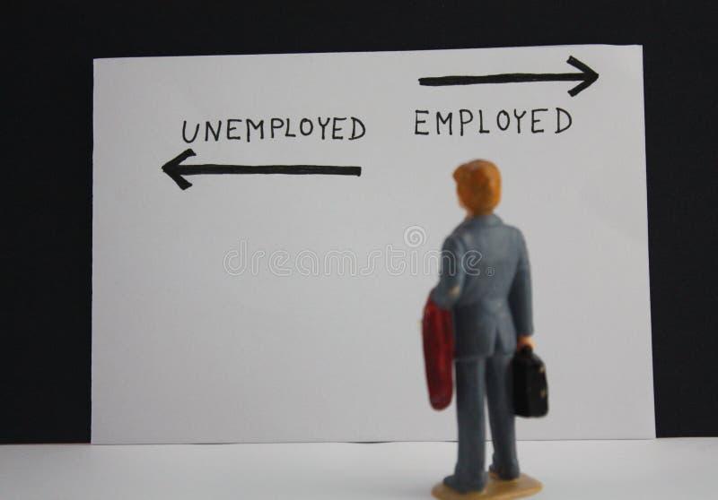 A pessoa diminuta do homem de negócios está antes das inscrição desempregadas e emploýed com setas Conceito desempregado fotografia de stock royalty free
