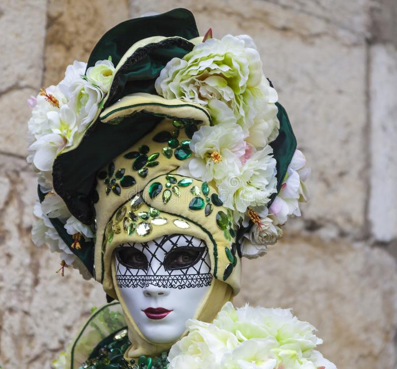 Pessoa disfarçada - carnaval Venetian 2013 de Annecy foto de stock