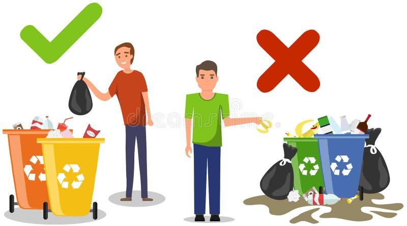 A pessoa dispôs impropriamente o jogo afastado do lixo no assoalho Comportamento correto e errado de desarrumar o desperdício Des ilustração royalty free
