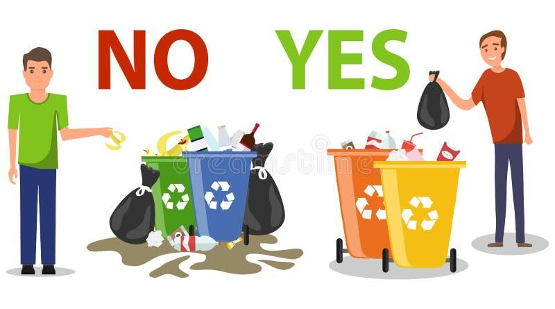 A pessoa dispôs impropriamente o jogo afastado do lixo no assoalho Comportamento correto e errado de desarrumar o desperdício Des ilustração do vetor