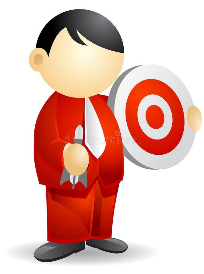 Pessoa do negócio - bullseye ilustração do vetor