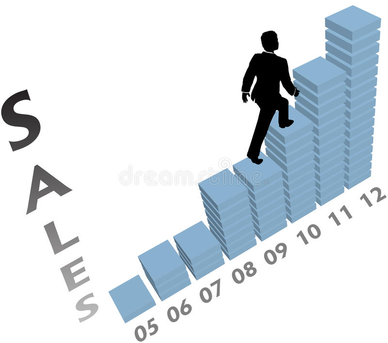A pessoa do negócio escala a carta acima de mercado das vendas ilustração do vetor