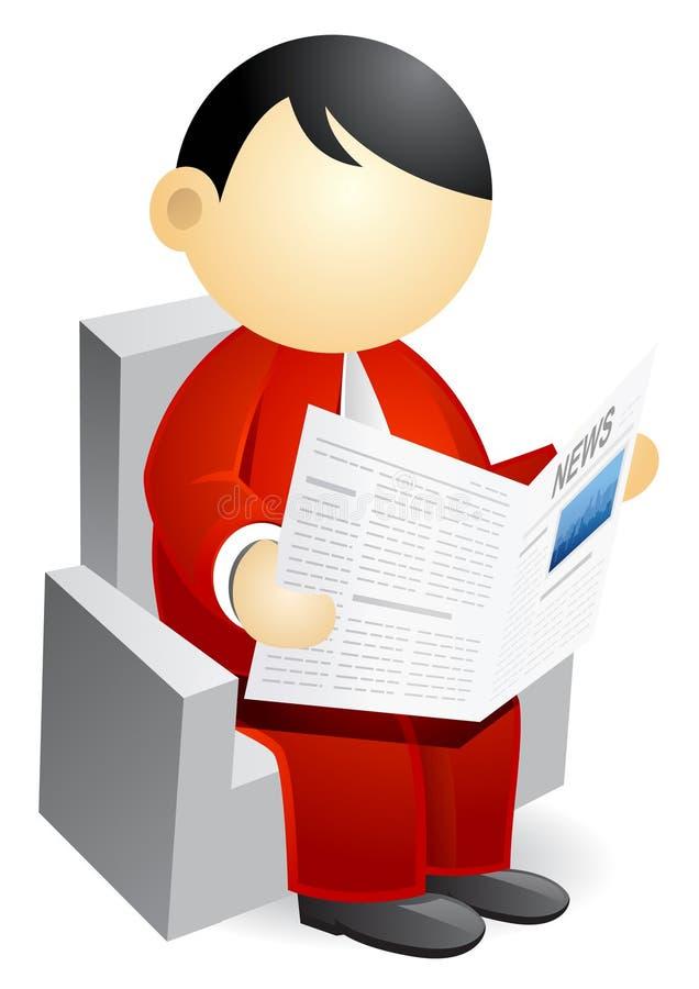 Pessoa do negócio - jornal da leitura ilustração royalty free