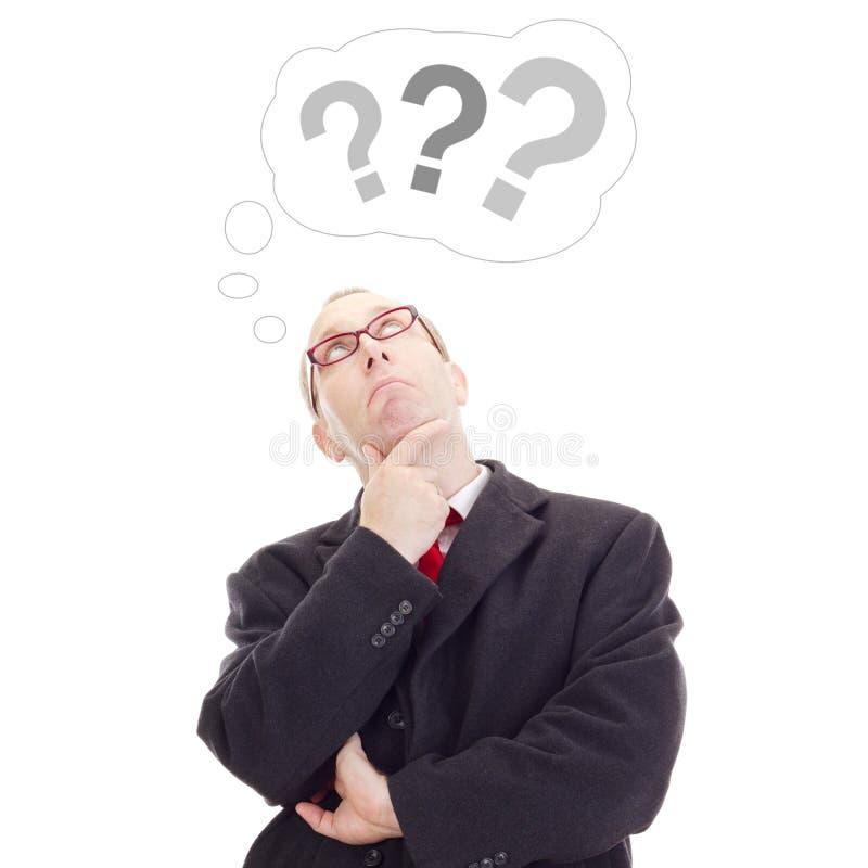 Pessoa do negócio que pensa sobre a pergunta fotografia de stock royalty free