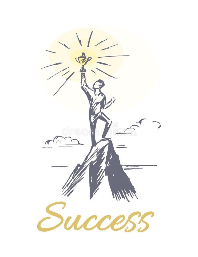 Pessoa do sucesso na ilustração do vetor da parte superior da montanha ilustração royalty free