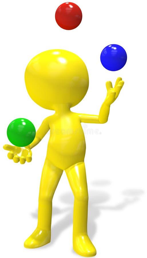 A pessoa dos desenhos animados 3D do Juggler manipula esferas do RGB ilustração stock